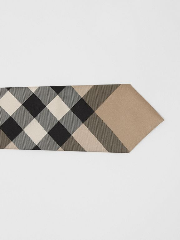 Classic Cut Check Silk Tie in Archive Beige - Men | Burberry - cell image 1