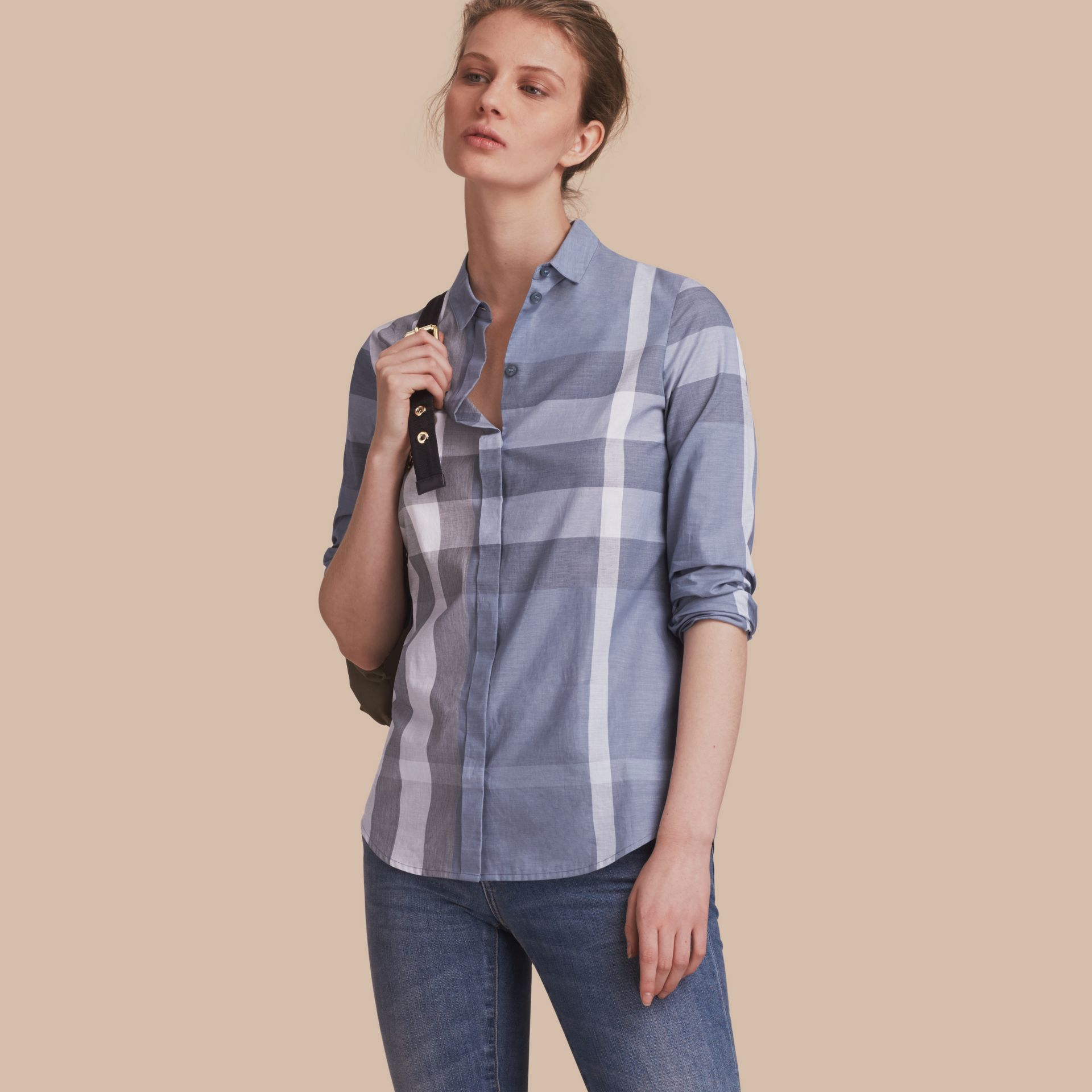 Check Cotton Shirt in Canvas Blue - Women | Burberry - gallery image 1