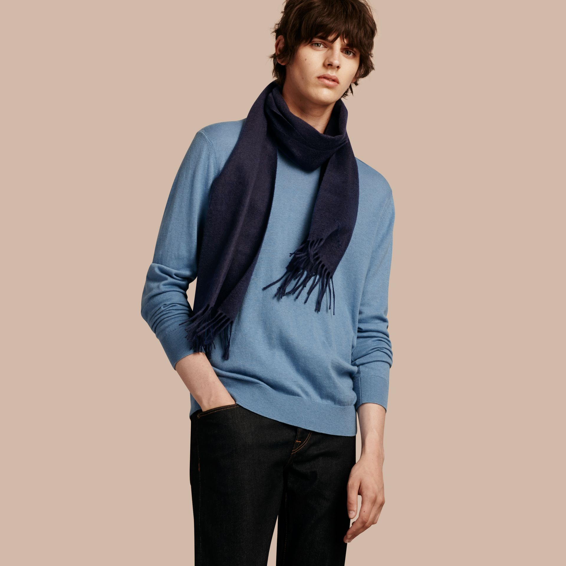The Classic Cashmere Scarf in Navy - gallery image 4