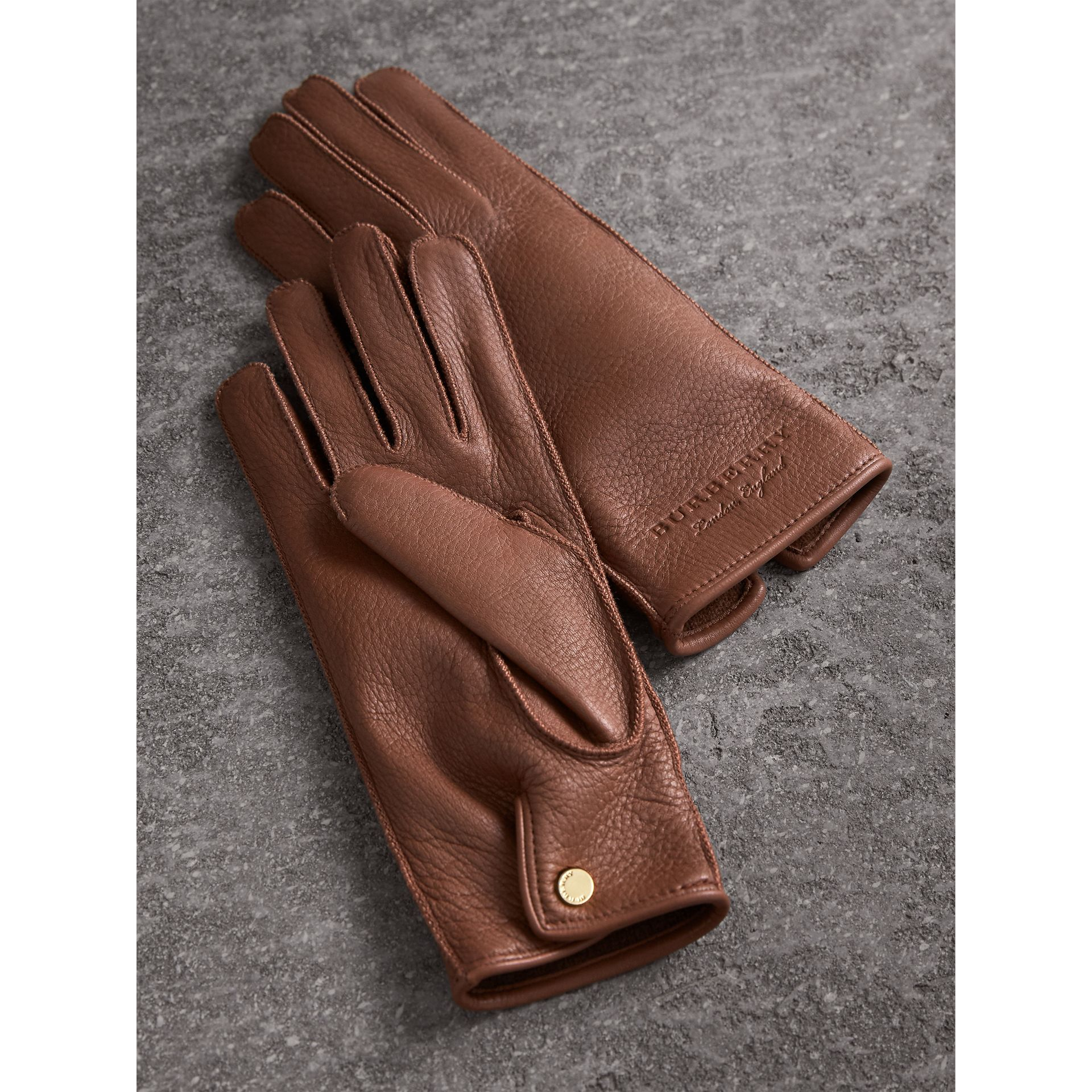 Deerskin Gloves in Chestnut Brown - Women | Burberry Hong Kong - gallery image 2