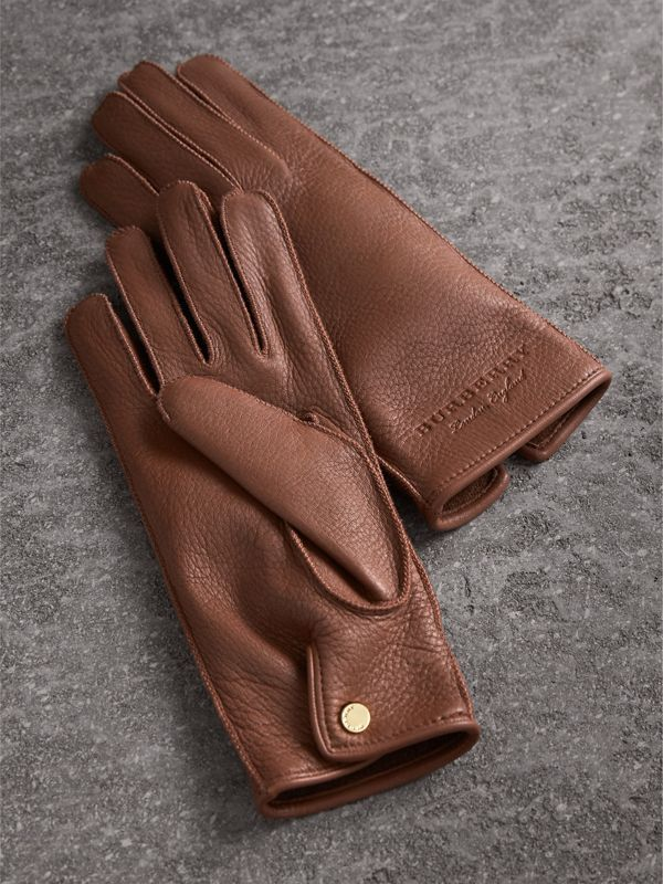 Deerskin Gloves in Chestnut Brown - Women | Burberry Singapore - cell image 2