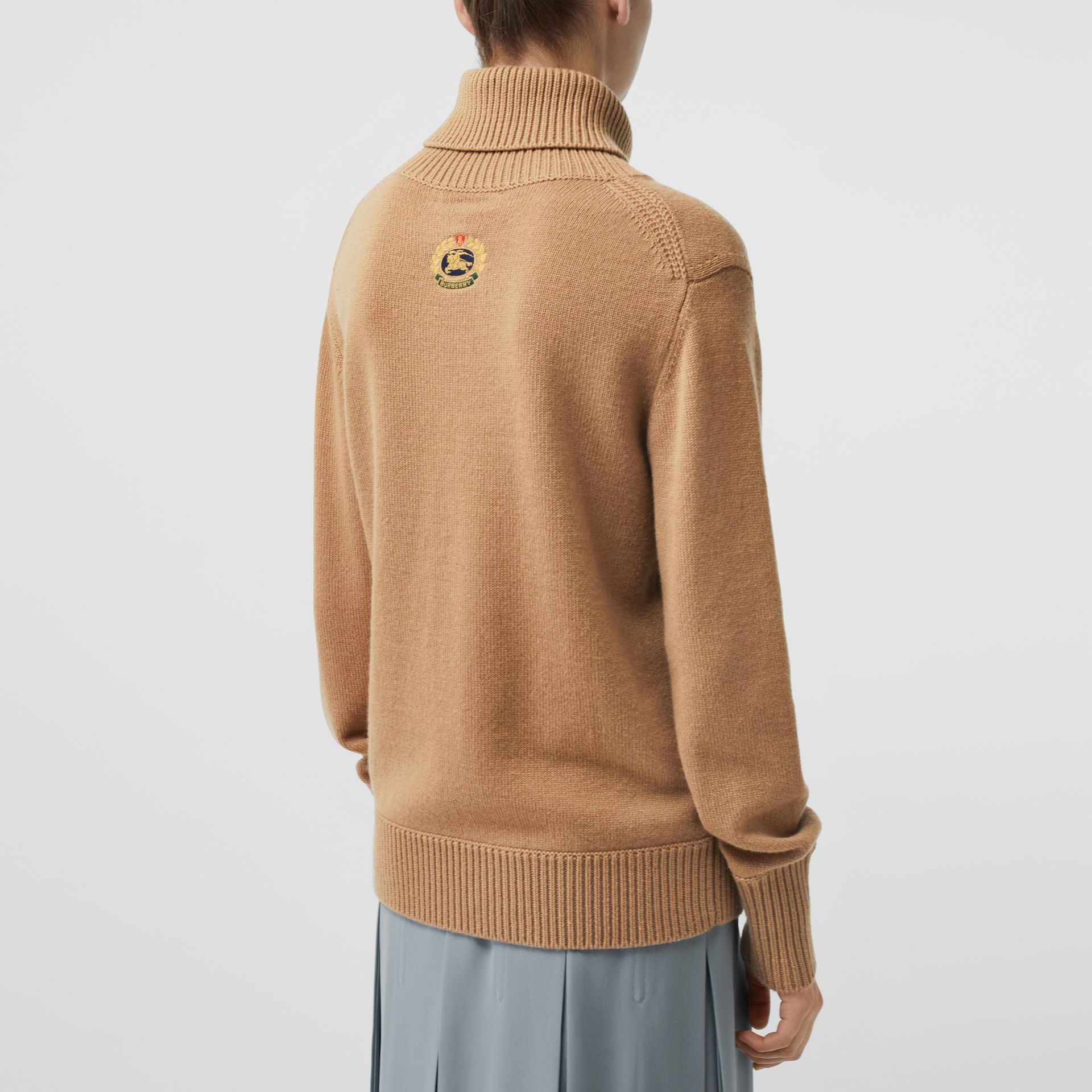 Embroidered Crest Cashmere Roll-neck Sweater in Camel - Women | Burberry - gallery image 2
