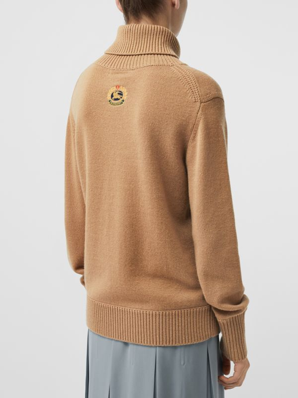 Embroidered Crest Cashmere Roll-neck Sweater in Camel - Women | Burberry United Kingdom - cell image 2