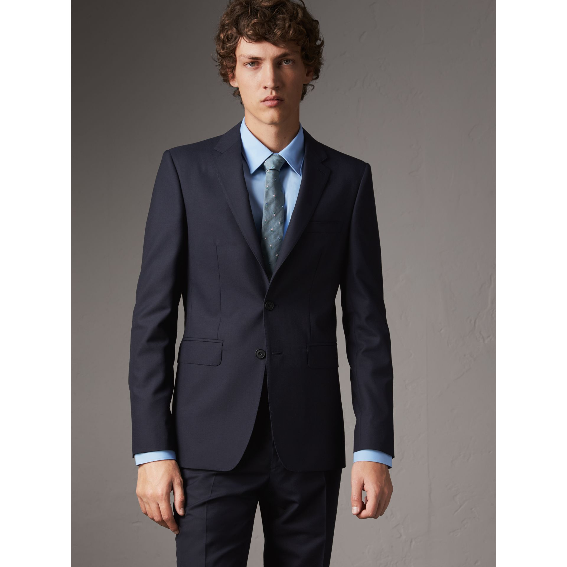 Slim Fit Wool Part-canvas Suit in Navy - Men | Burberry - gallery image 7