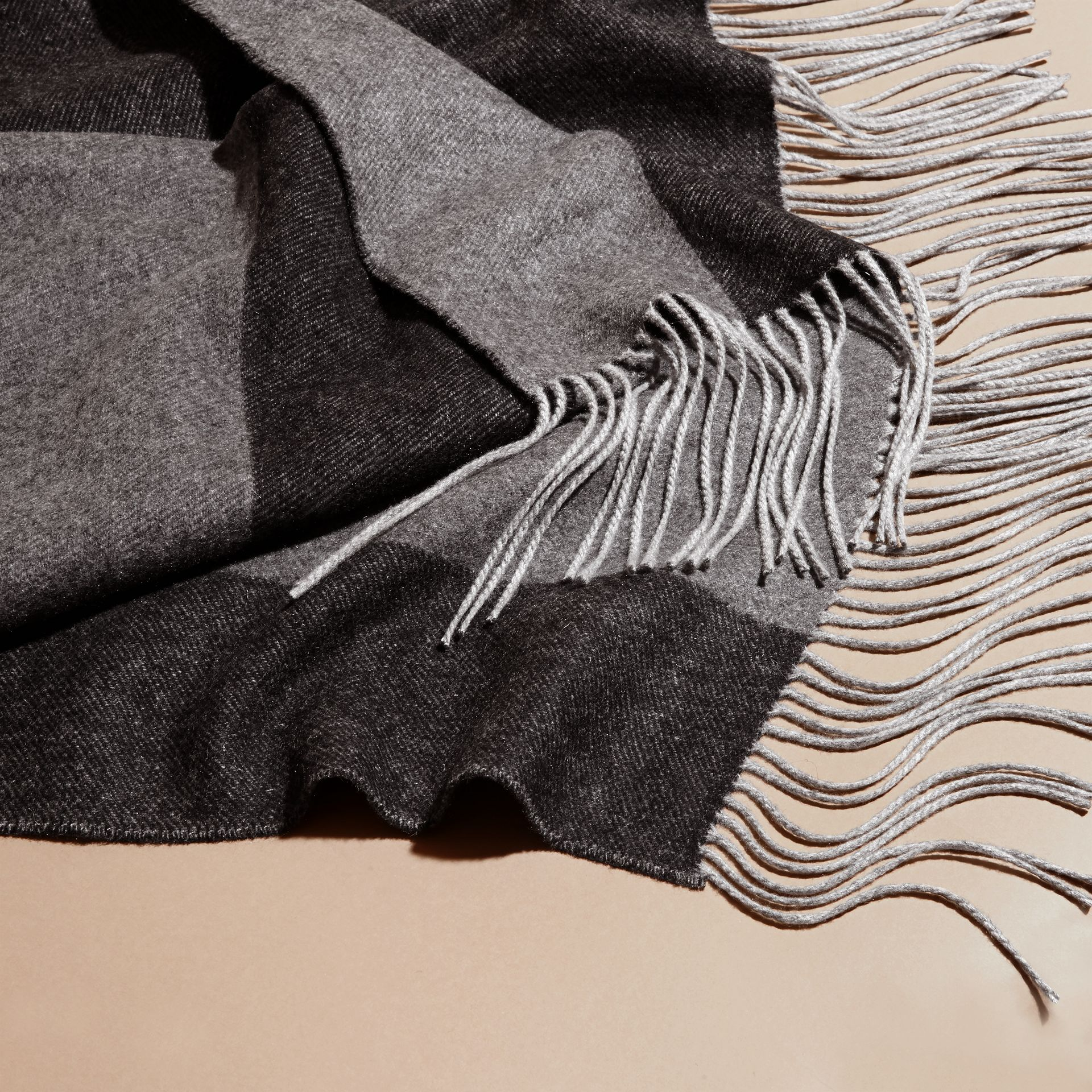 Charcoal Oversize Striped Cashmere Scarf Charcoal - gallery image 2