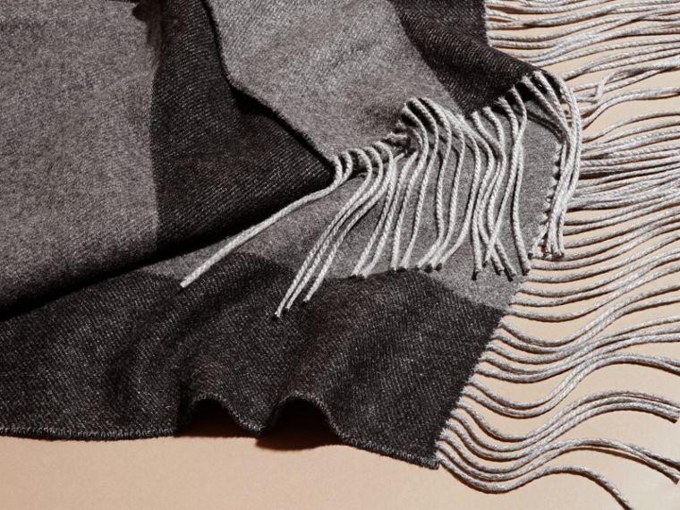 Oversize Striped Cashmere Scarf in Charcoal - cell image 1