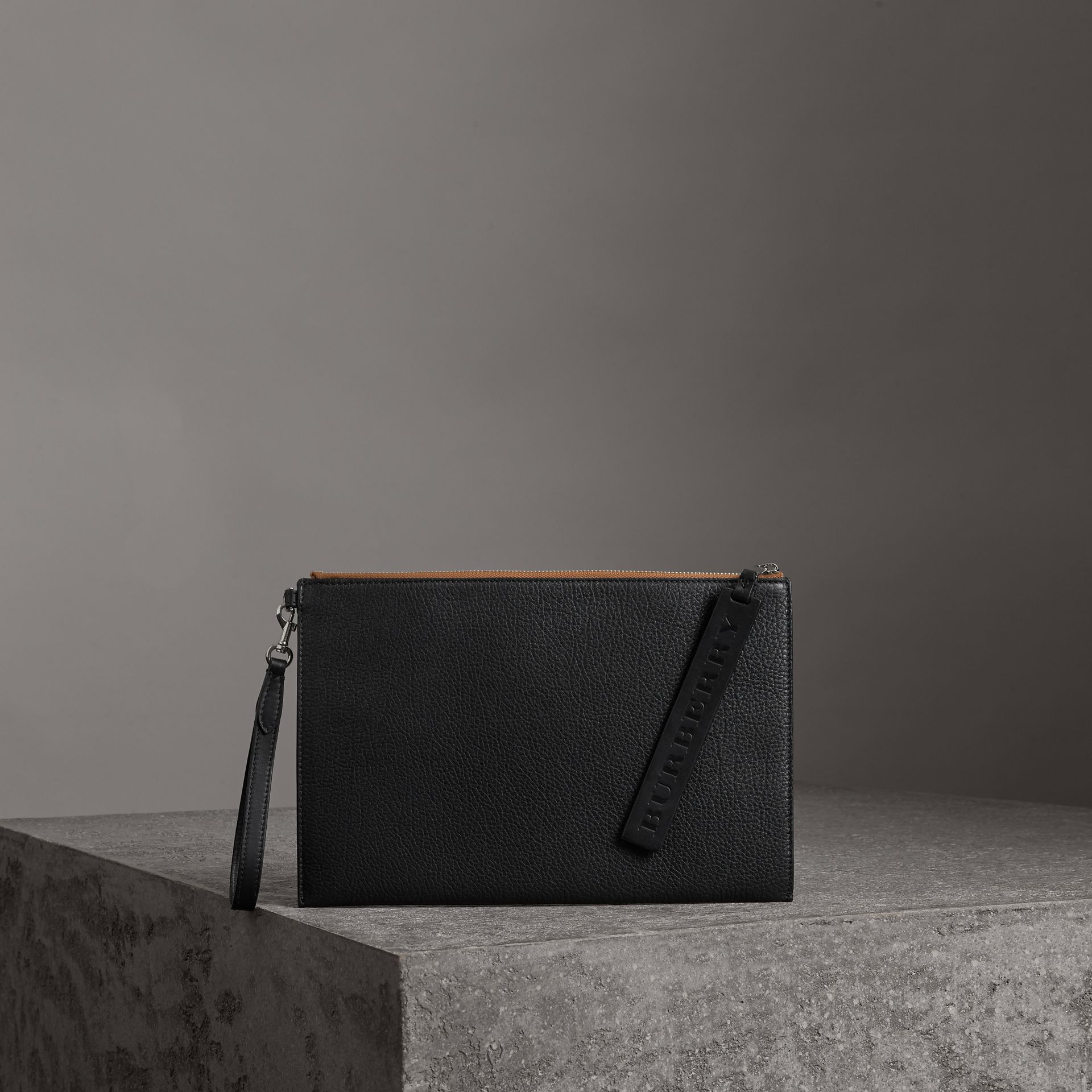 Grainy Leather Zip Pouch in Black | Burberry - gallery image 0