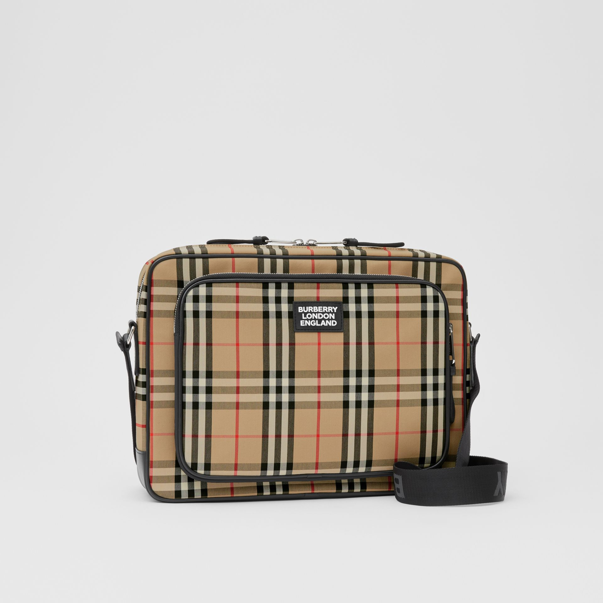 Vintage Check Cotton Messenger Bag in Archive Beige - Men | Burberry - gallery image 6