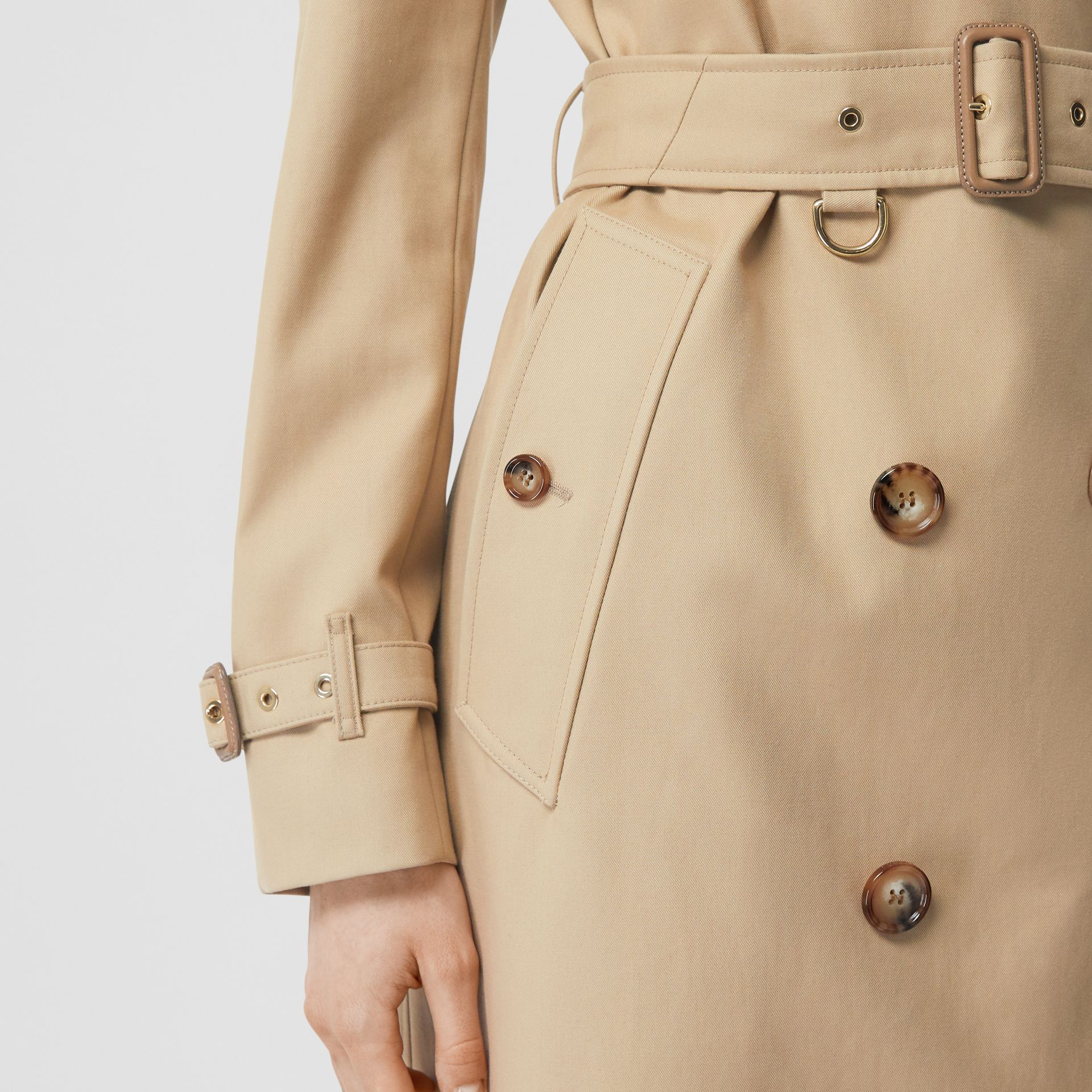 Archive Print-lined Cotton Gabardine Trench Coat in Honey - Women | Burberry Australia - gallery image 5