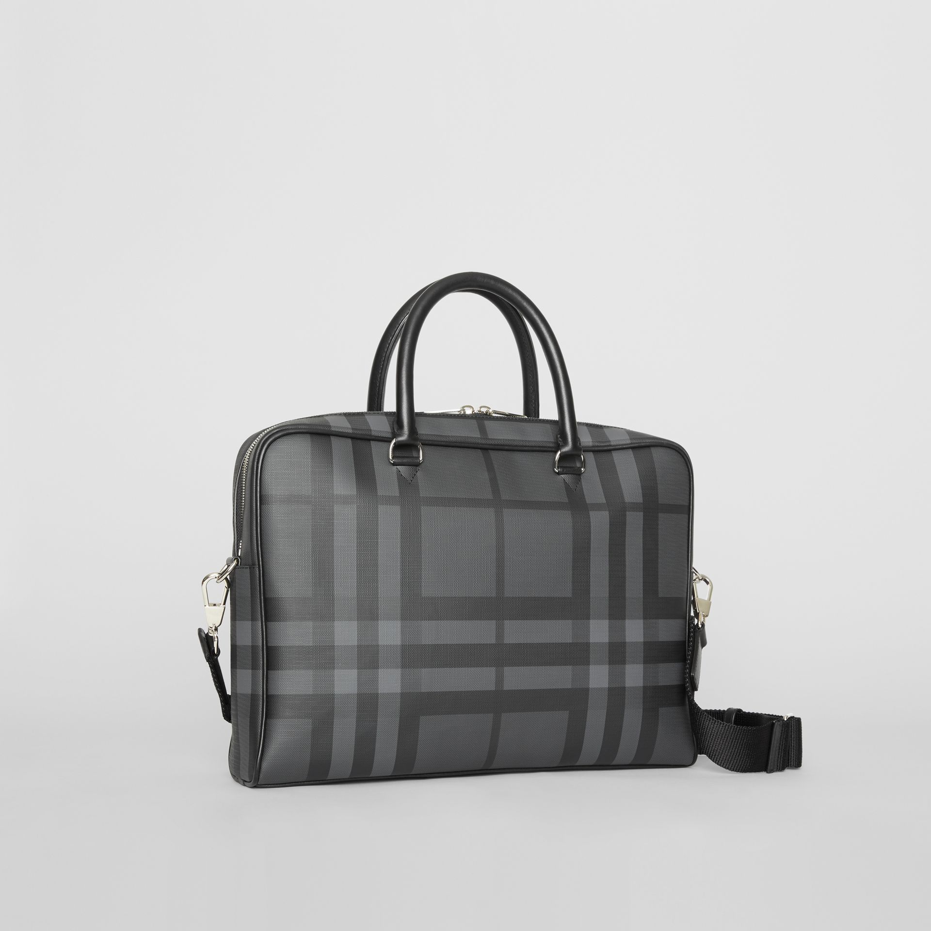 London Check and Leather Briefcase in Charcoal/black - Men | Burberry Australia - gallery image 6