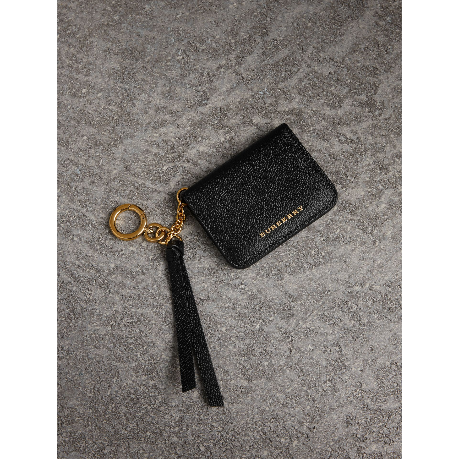 Grainy Leather ID Card Case Charm in Black - Women | Burberry - gallery image 0