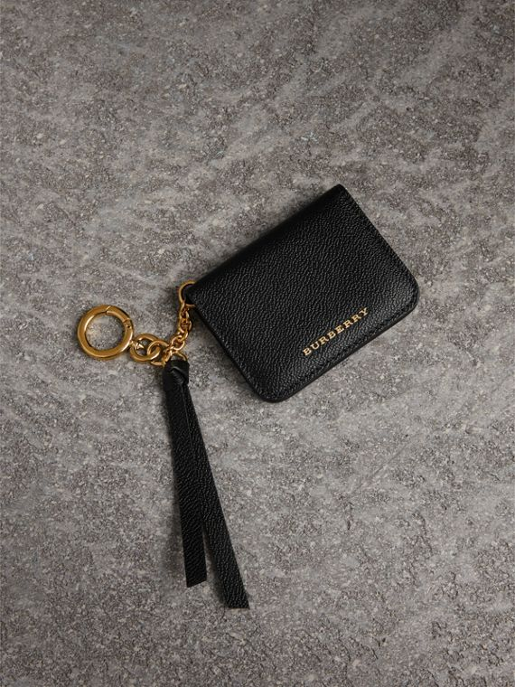 Grainy Leather ID Card Case Charm in Black
