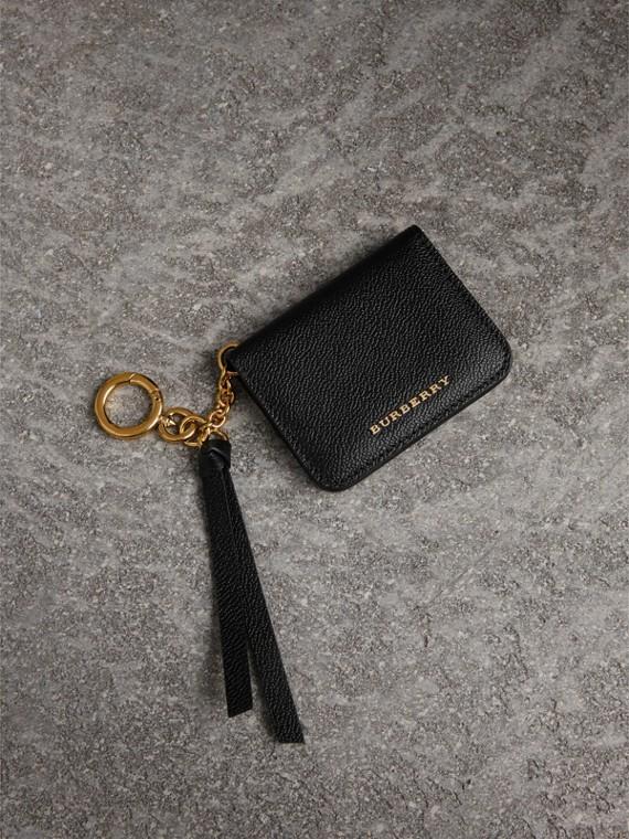 粒面皮革證件卡片夾墜飾 (黑色)