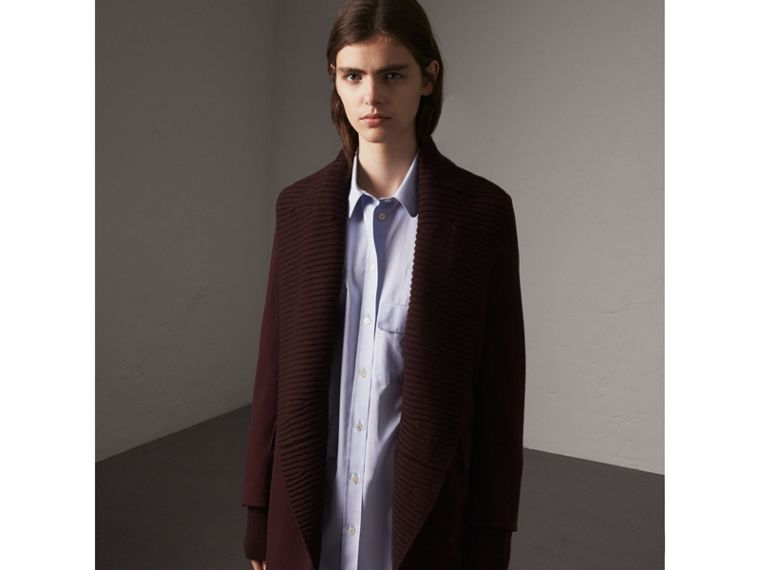 Detachable Rib Knit Collar Cashmere Coat in Blackcurrant - Women | Burberry - cell image 4