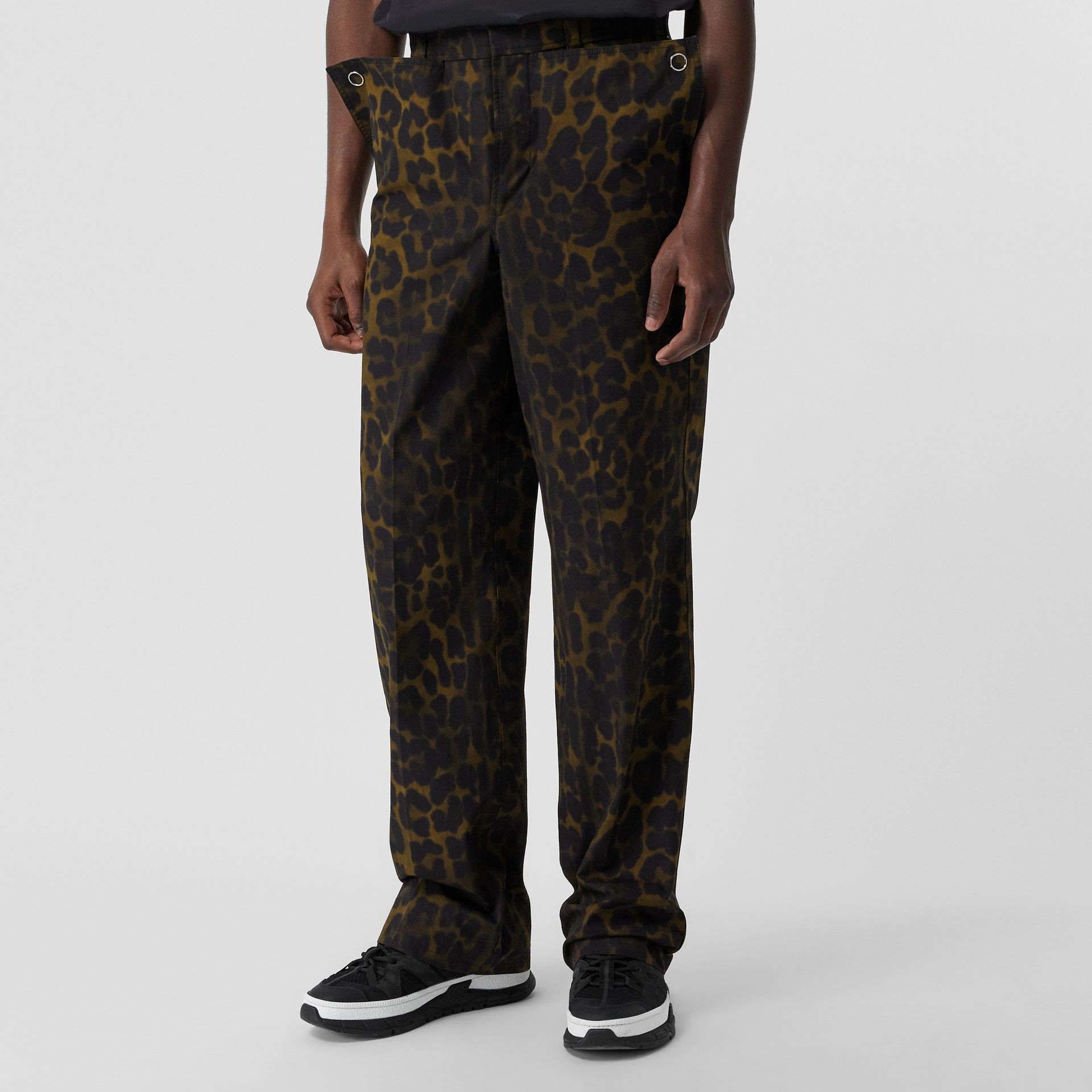 Relaxed Fit Leopard Print Cotton Trousers in Khaki Green | Burberry - gallery image 0