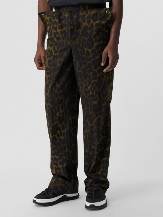Relaxed Fit Leopard Print Cotton Trousers in Khaki Green