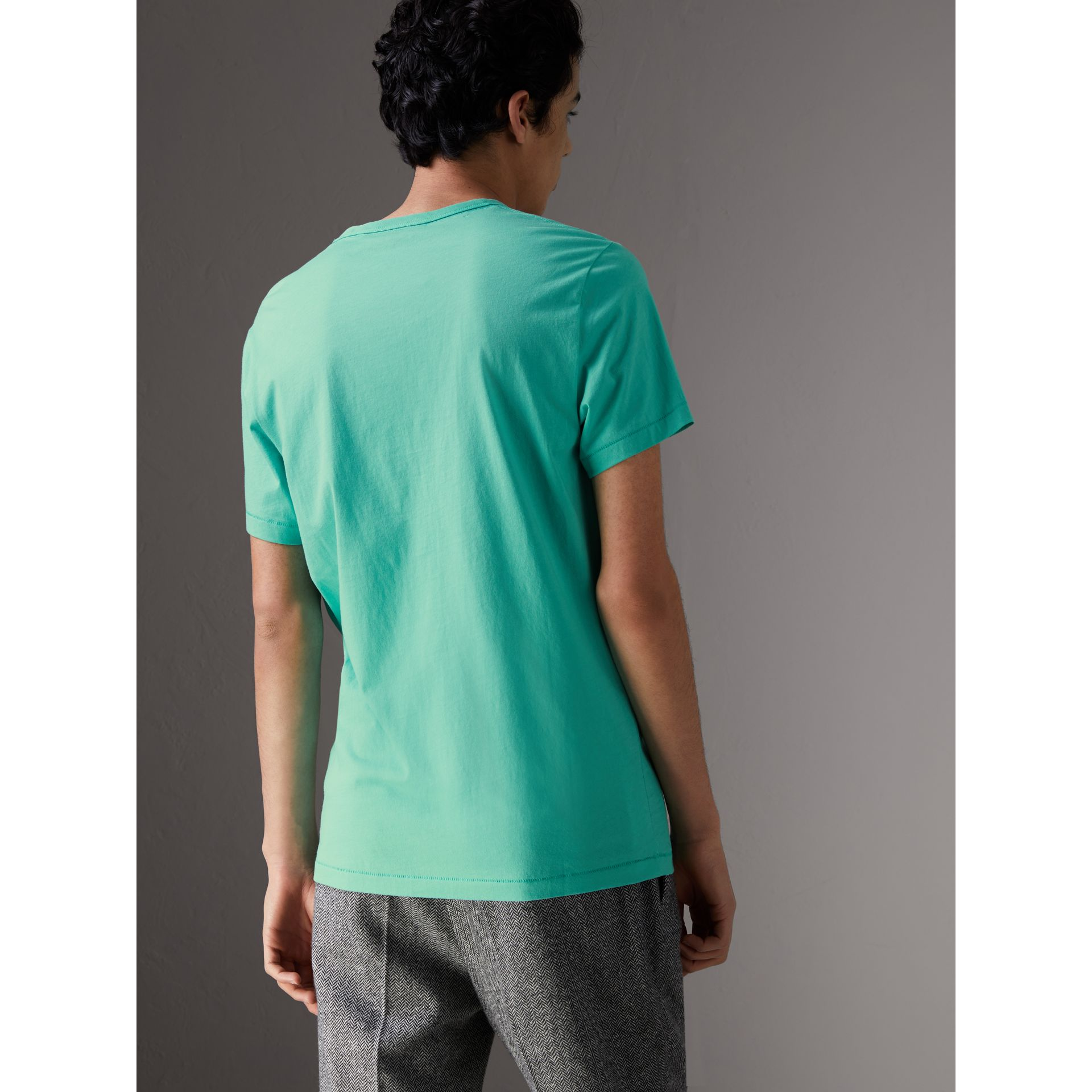 Cotton Jersey T-shirt in Turquoise - Men | Burberry United States - gallery image 2