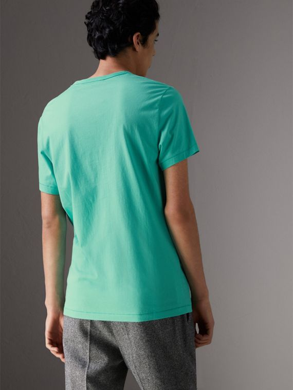 Cotton Jersey T-shirt in Turquoise - Men | Burberry United States - cell image 2