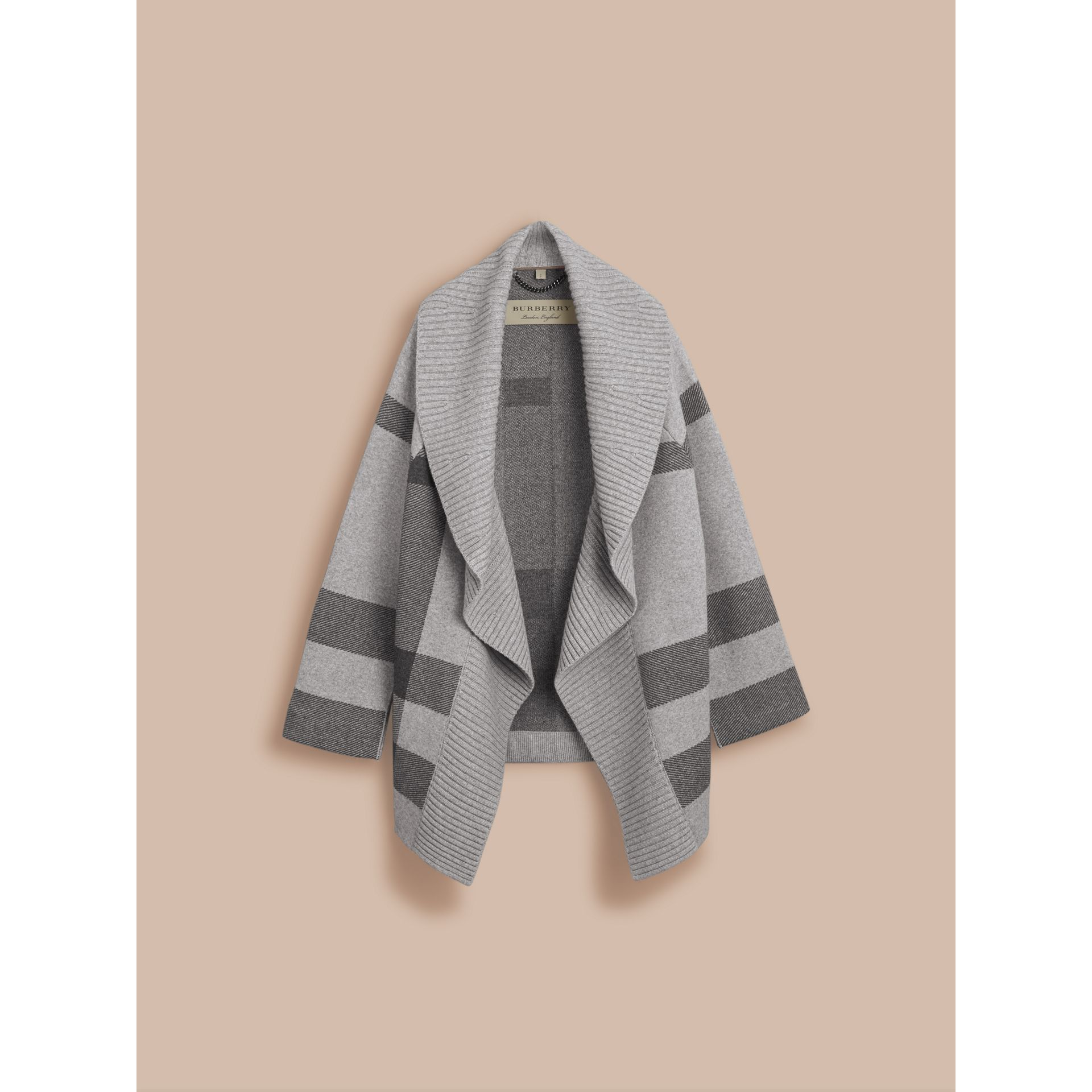 Check Wool Cashmere Blend Cardigan Coat in Pale Grey Melange - Women | Burberry Singapore - gallery image 4