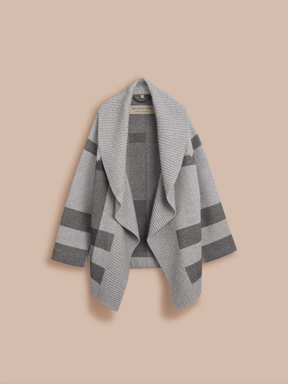 Check Wool Cashmere Blend Cardigan Coat in Pale Grey Melange - Women | Burberry - cell image 3