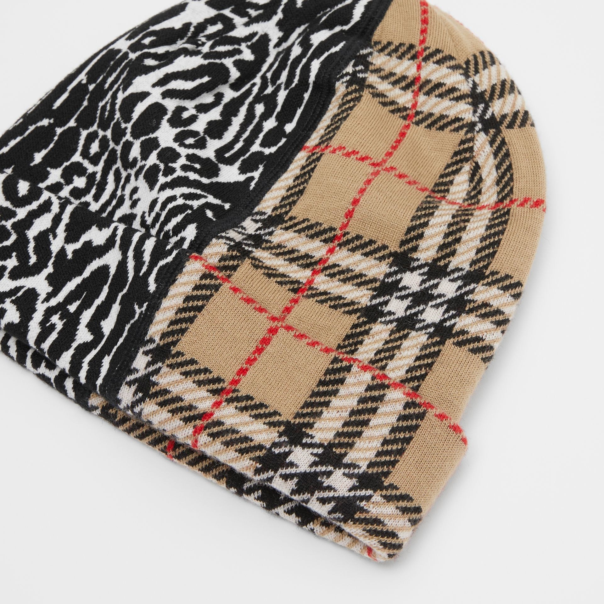 Check and Leopard Merino Wool Jacquard Beanie in Print - Children | Burberry United Kingdom - gallery image 1