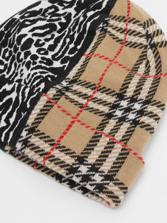 Check and Leopard Merino Wool Jacquard Beanie in Print - Children | Burberry United States - cell image 1