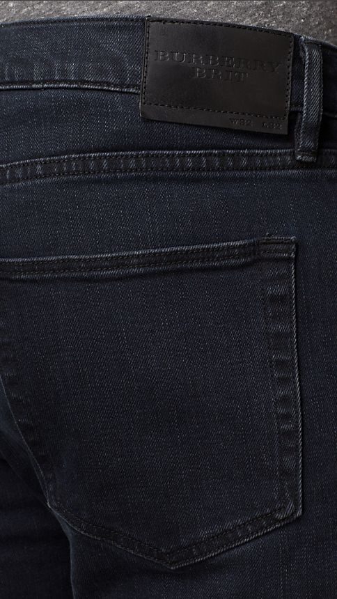 Deep indigo Slim Fit Washed Indigo Jeans - Image 4
