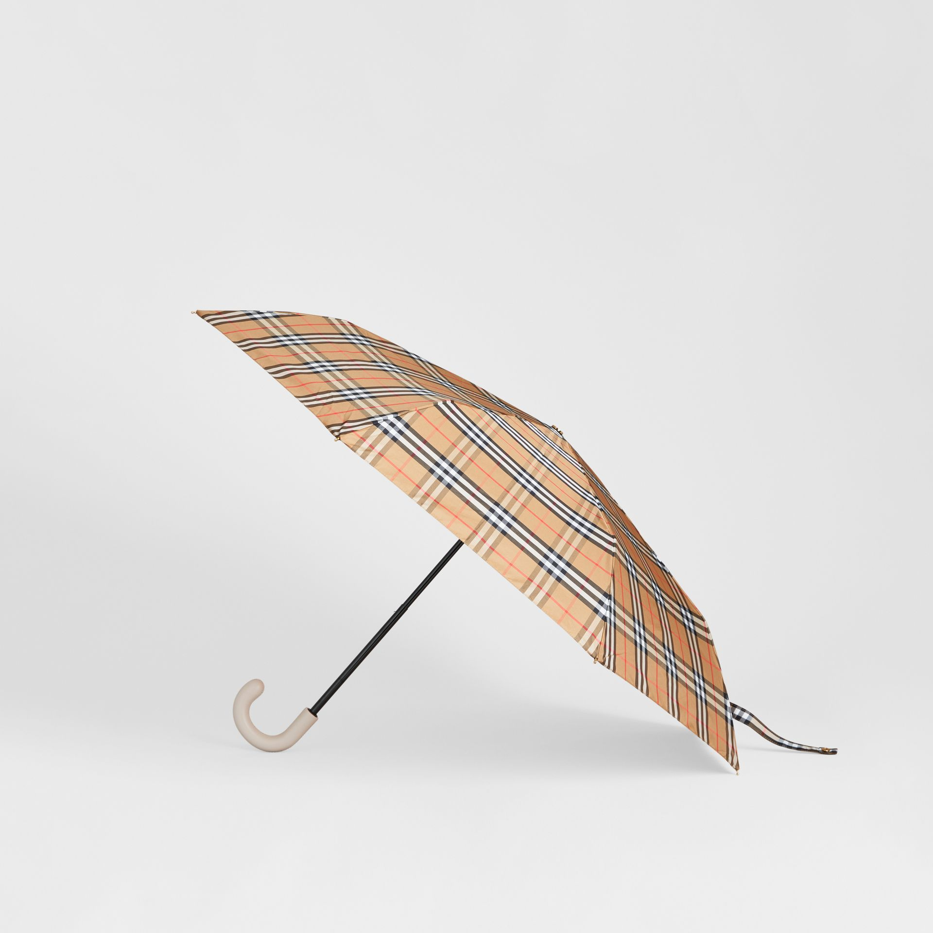 Vintage Check Folding Umbrella in Antique Yellow/limestone | Burberry - gallery image 4