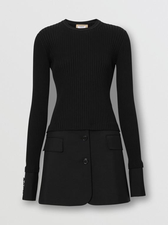Tailored Hem Rib Knit Wool Mohair Dress in Black