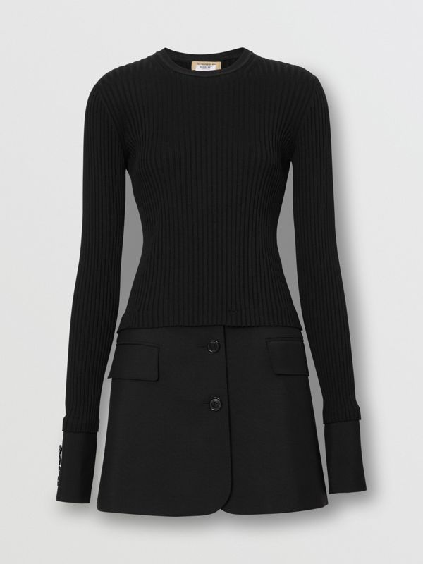 Tailored Hem Rib Knit Wool Mohair Dress in Black - Women | Burberry Singapore - cell image 3