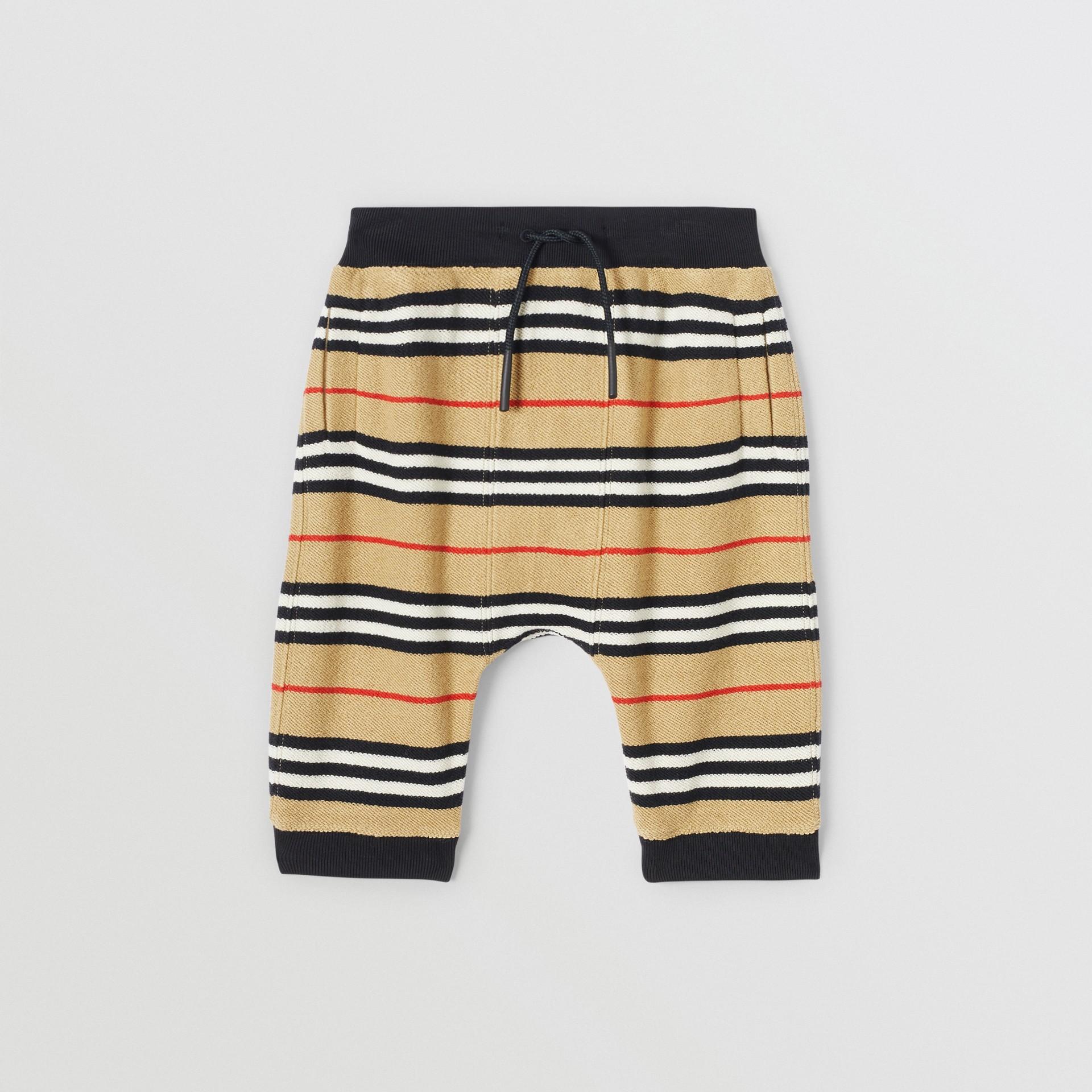 Icon Stripe Cotton Trackpants in Archive Beige - Children | Burberry United Kingdom - gallery image 0