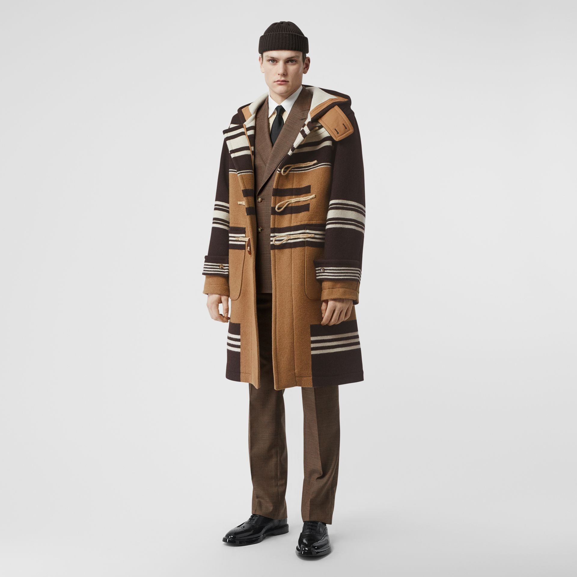 Stripe Detail Wool Duffle Coat in Camel - Men | Burberry - gallery image 0