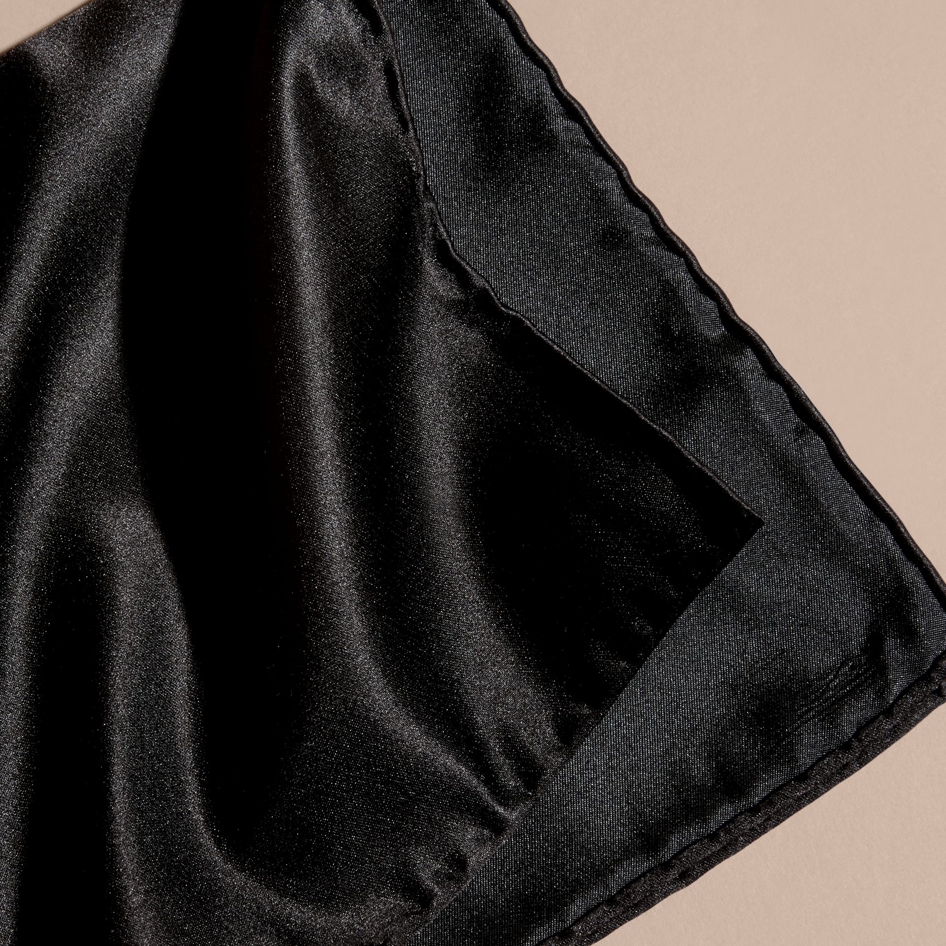 Black Silk Pocket Square Black - gallery image 2