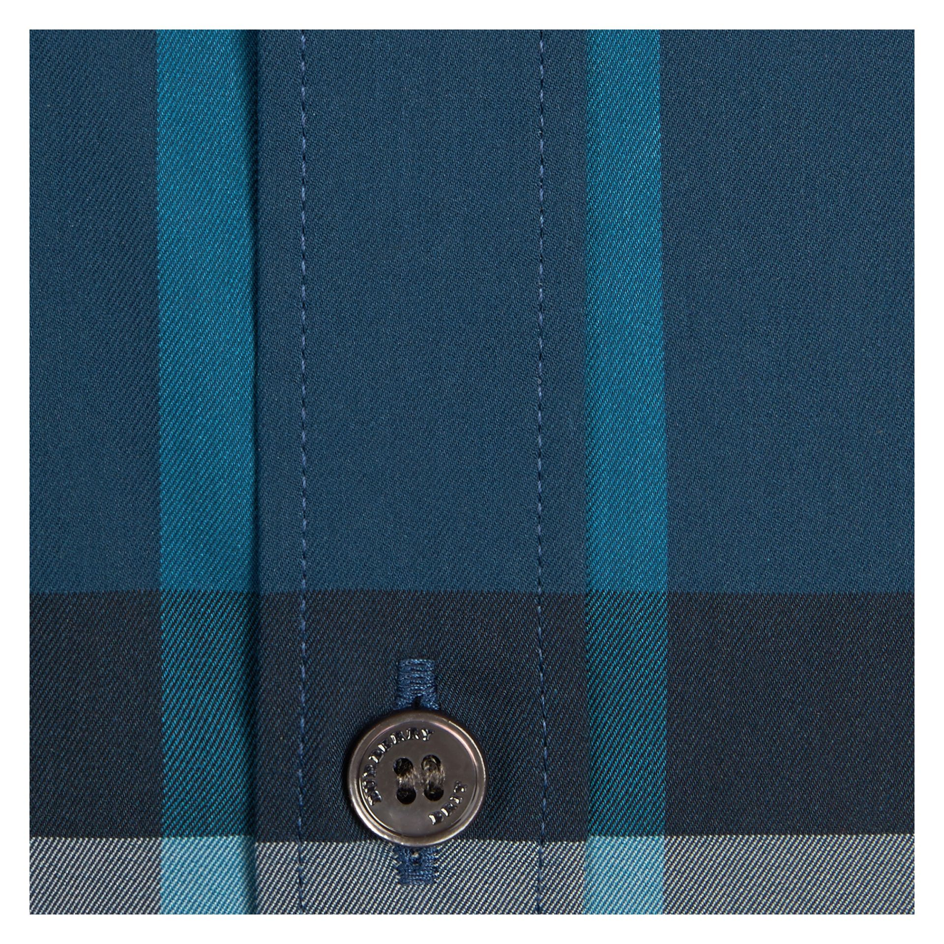 Marine blue Check Stretch Cotton Shirt Marine Blue - gallery image 2