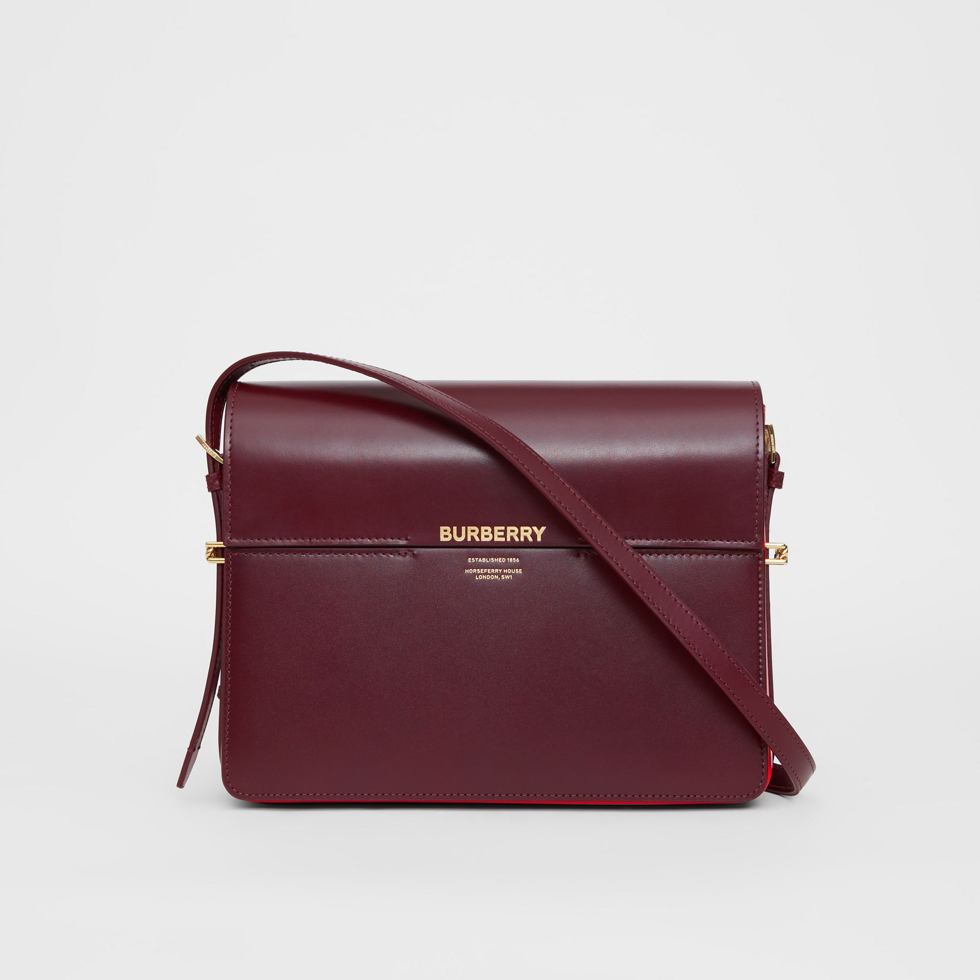 Grand sac Grace en cuir bicolore (Oxblood/rouge Militaire Vif) - Femme | Burberry - photo de la galerie 0
