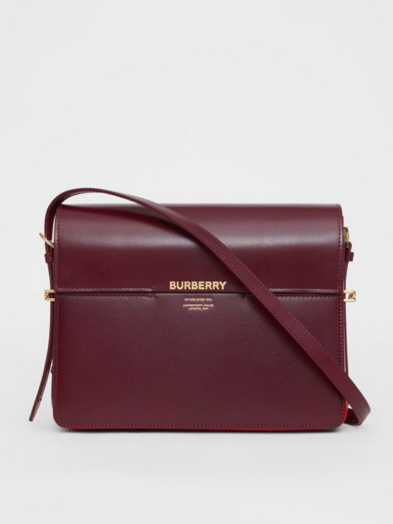 Large Two-tone Leather Grace Bag in Oxblood/bright Military Red