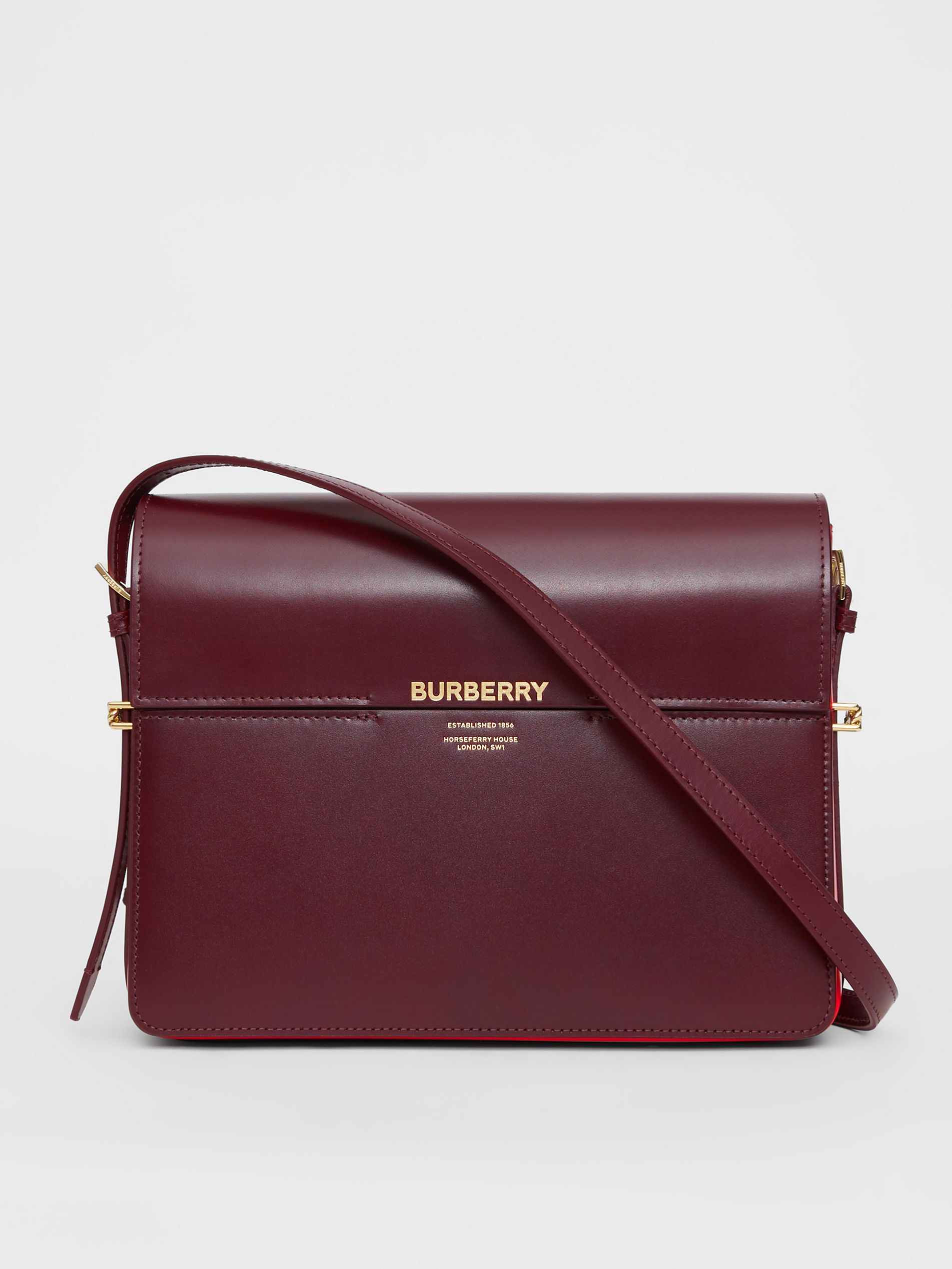 bff9589dc43e0 Burberry Large Two-Tone Leather Grace Bag In Oxblood/Br Milit Red ...