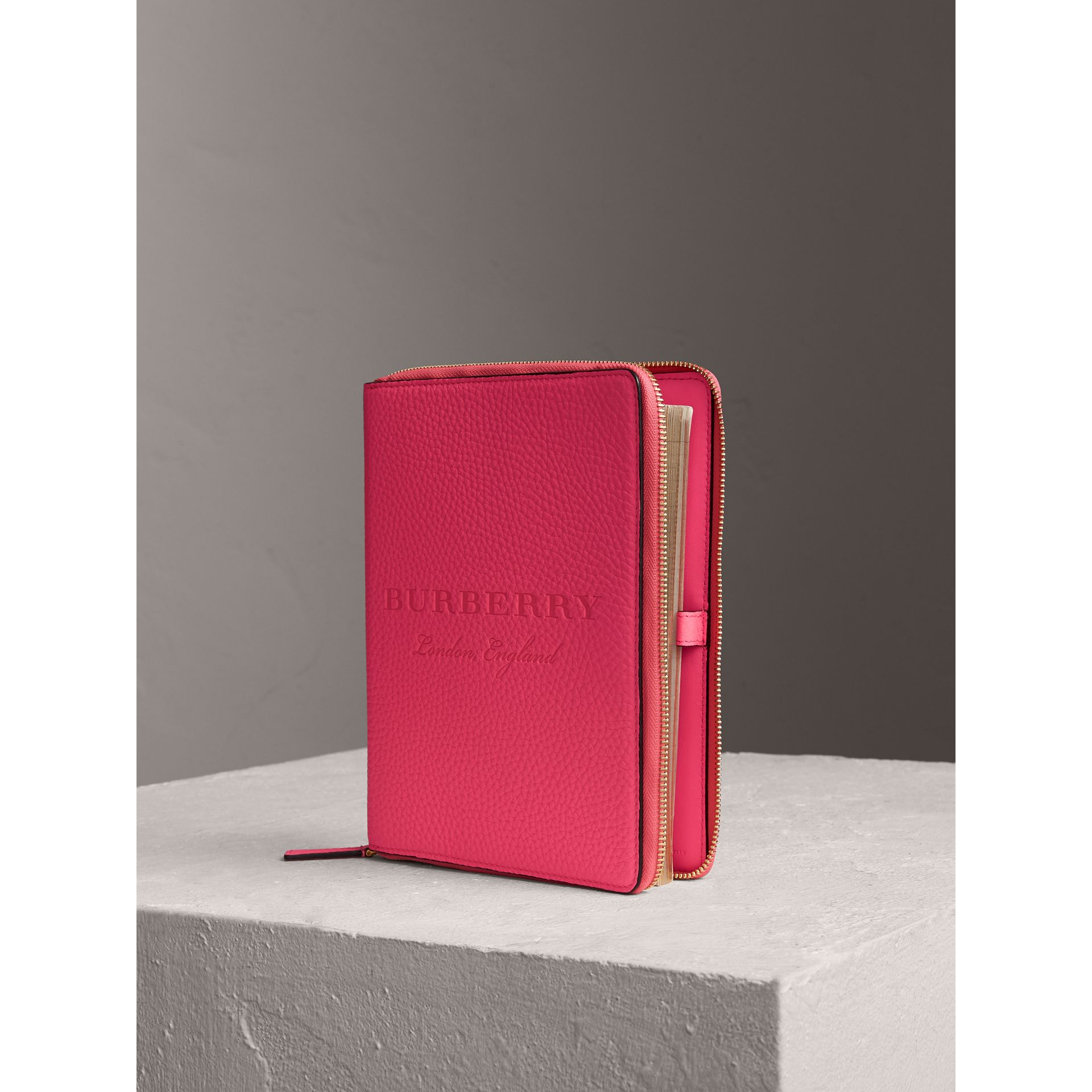 Embossed Grainy Leather Ziparound A5 Notebook Case in Bright Pink | Burberry - gallery image 0