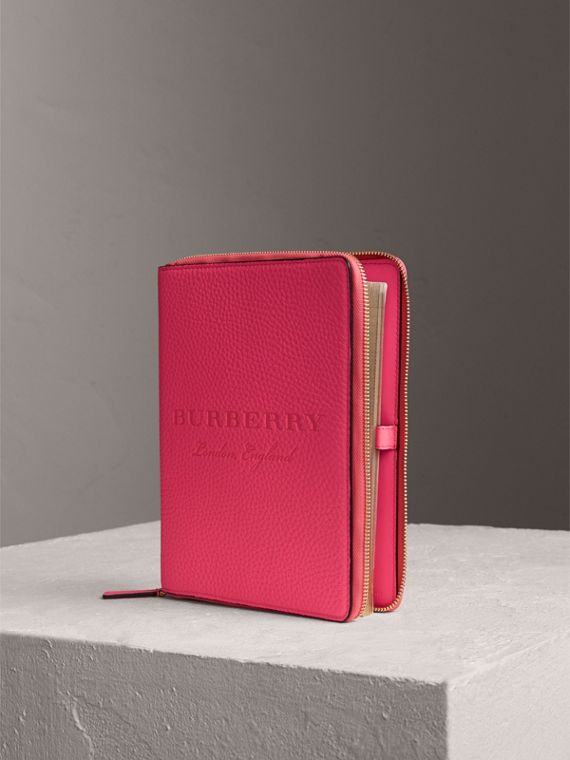 Embossed Grainy Leather Ziparound A5 Notebook Case in Bright Pink