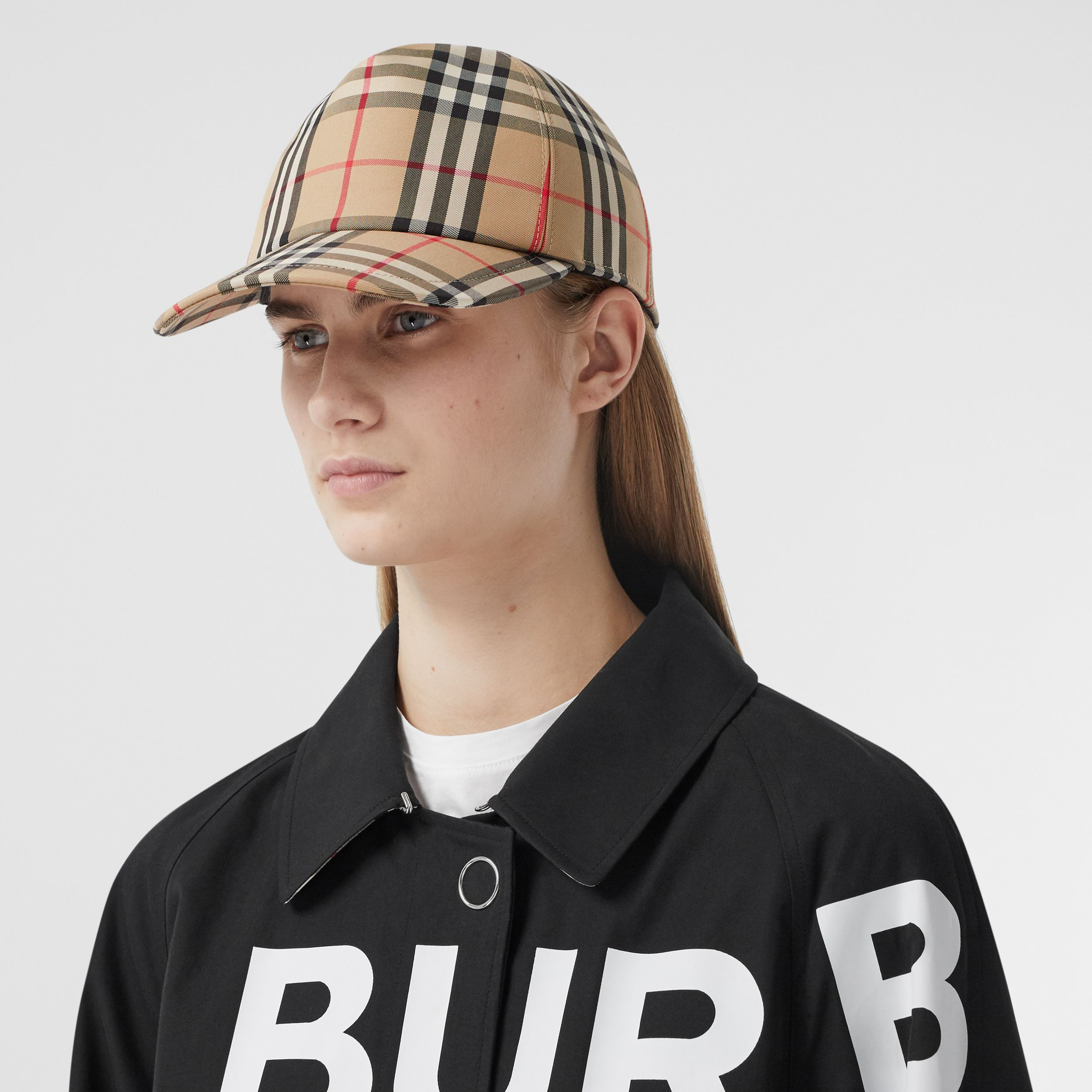 Logo Appliqué Vintage Check Baseball Cap in Archive Beige | Burberry Canada - 3