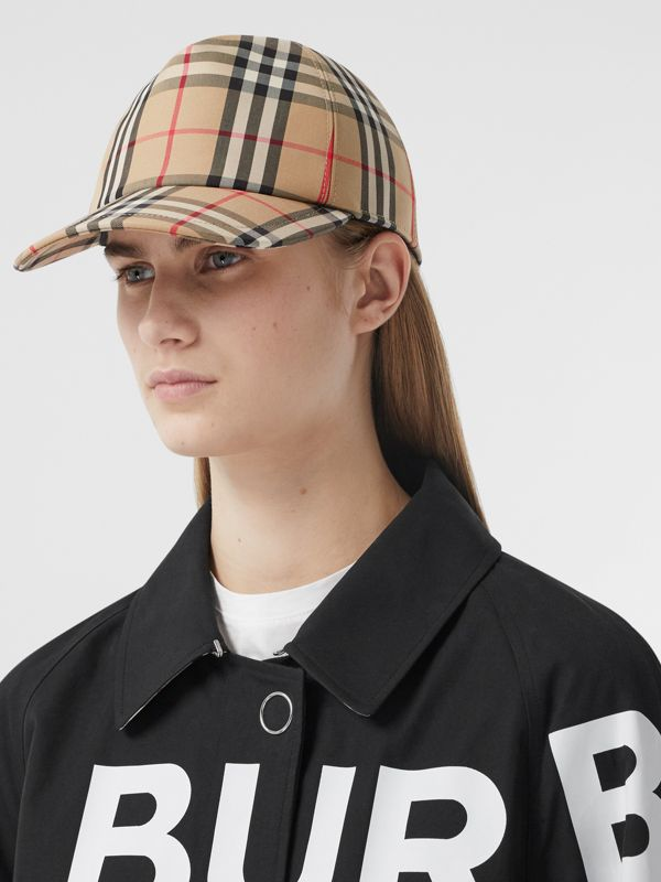 Logo Appliqué Vintage Check Baseball Cap in Archive Beige | Burberry United Kingdom - cell image 2