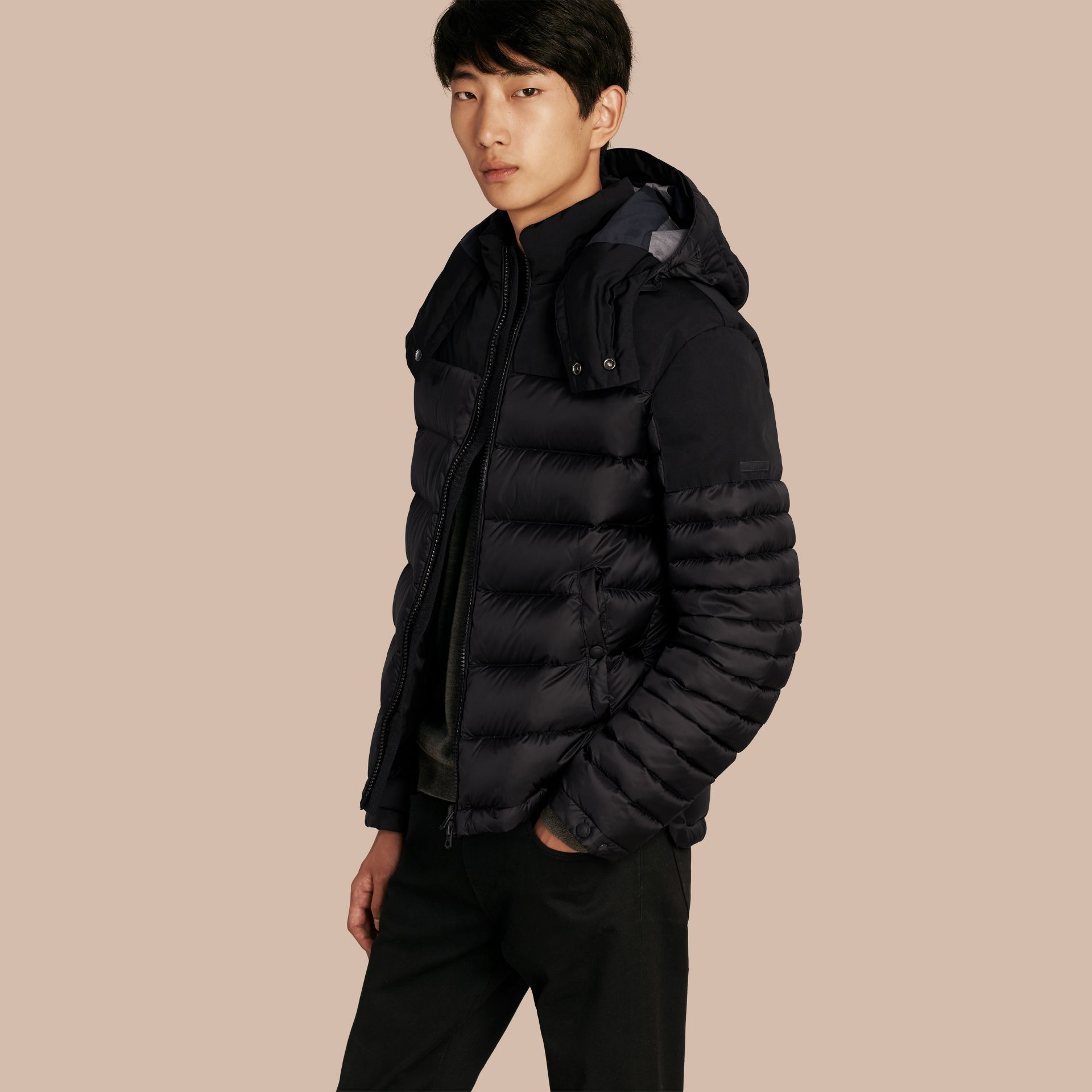 Black Mid-weight Down-filled Technical Puffer Jacket Black - gallery image 1