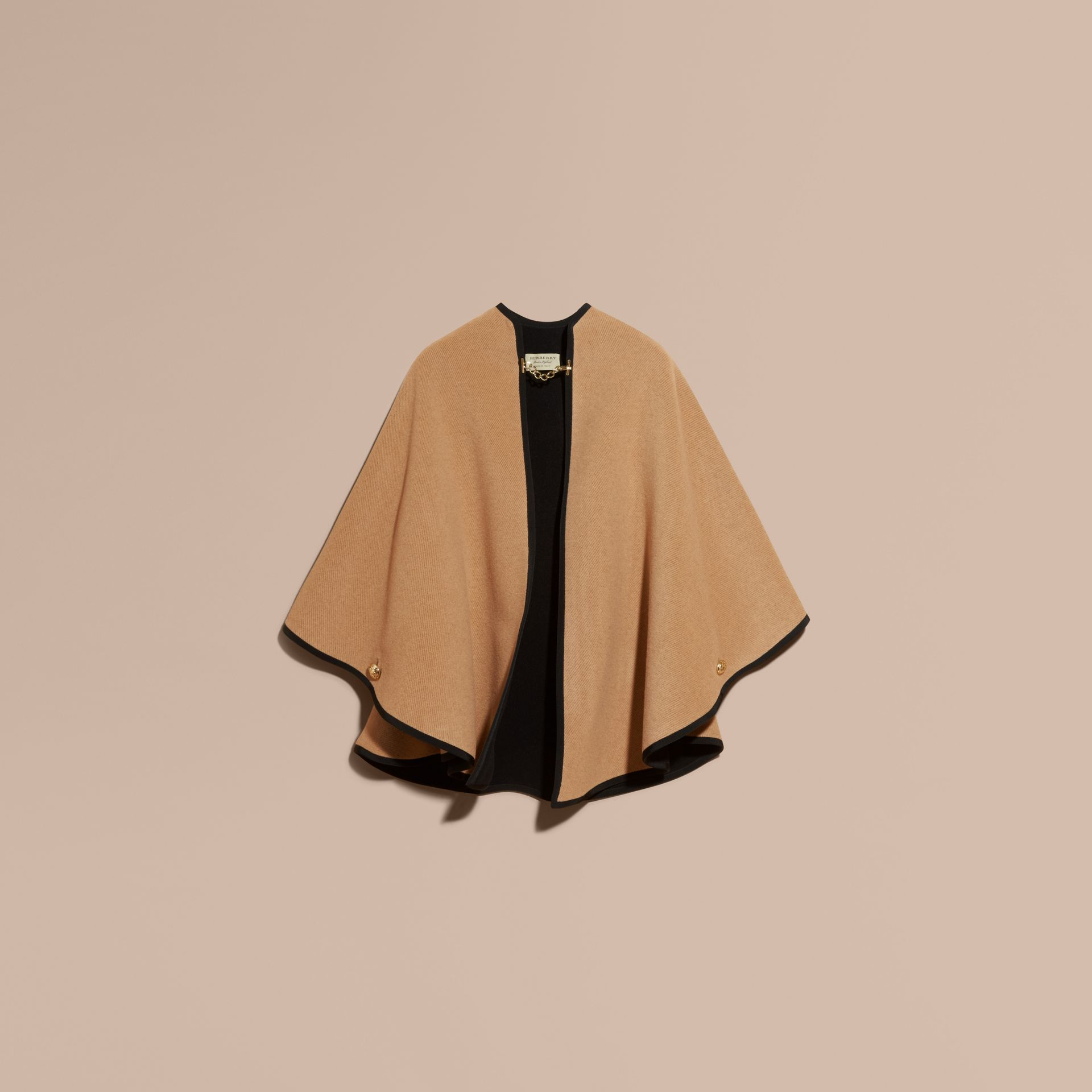 Camel/black Wool Cashmere Military Cape Camel/black - gallery image 4