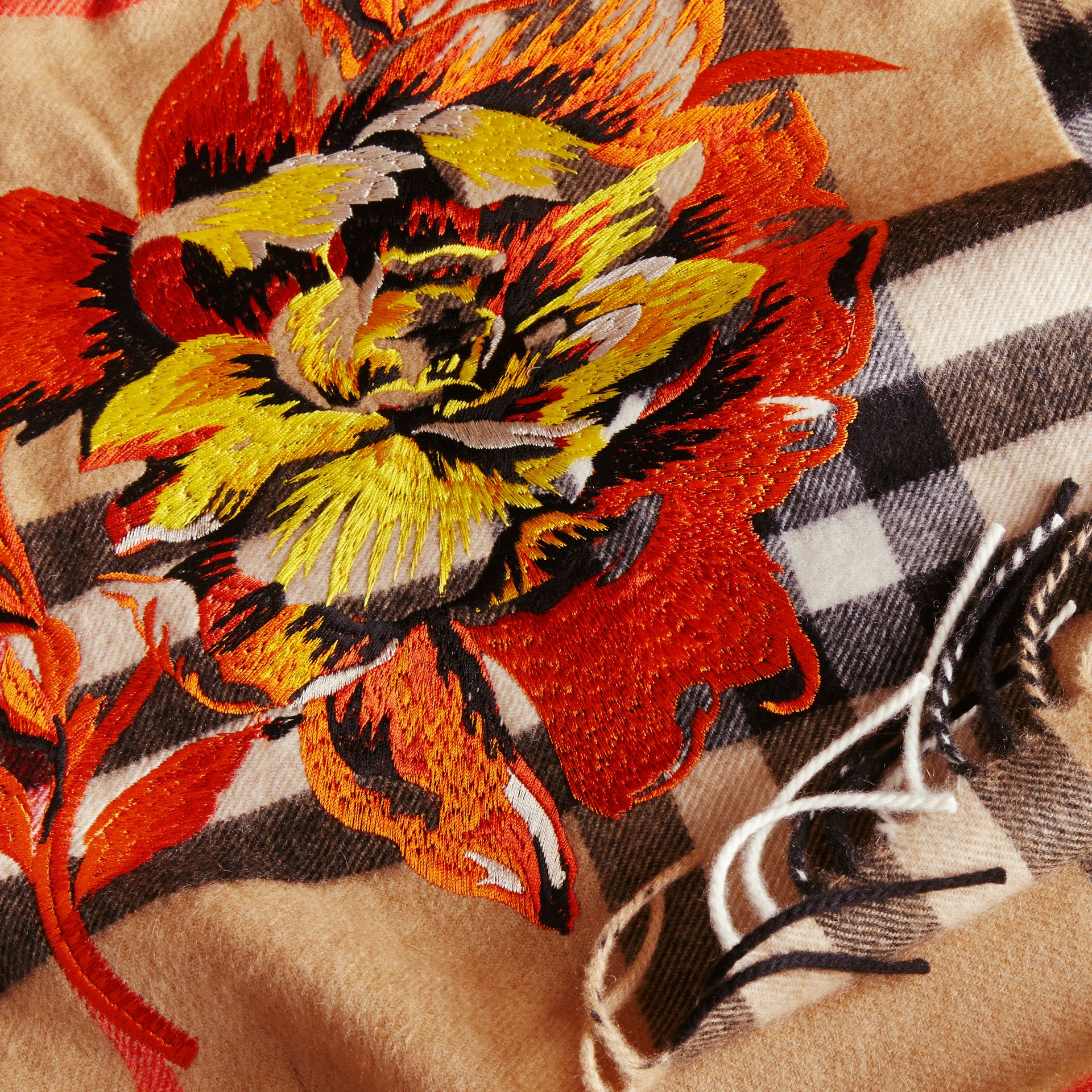 The Classic Cashmere Scarf with Embroidered Peony Rose - gallery image 2