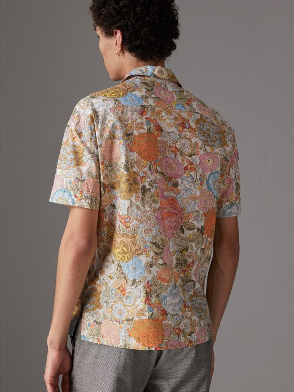 Short-sleeve Floral Print Cotton Shirt in Bright Orange - Men | Burberry Hong Kong - cell image 2
