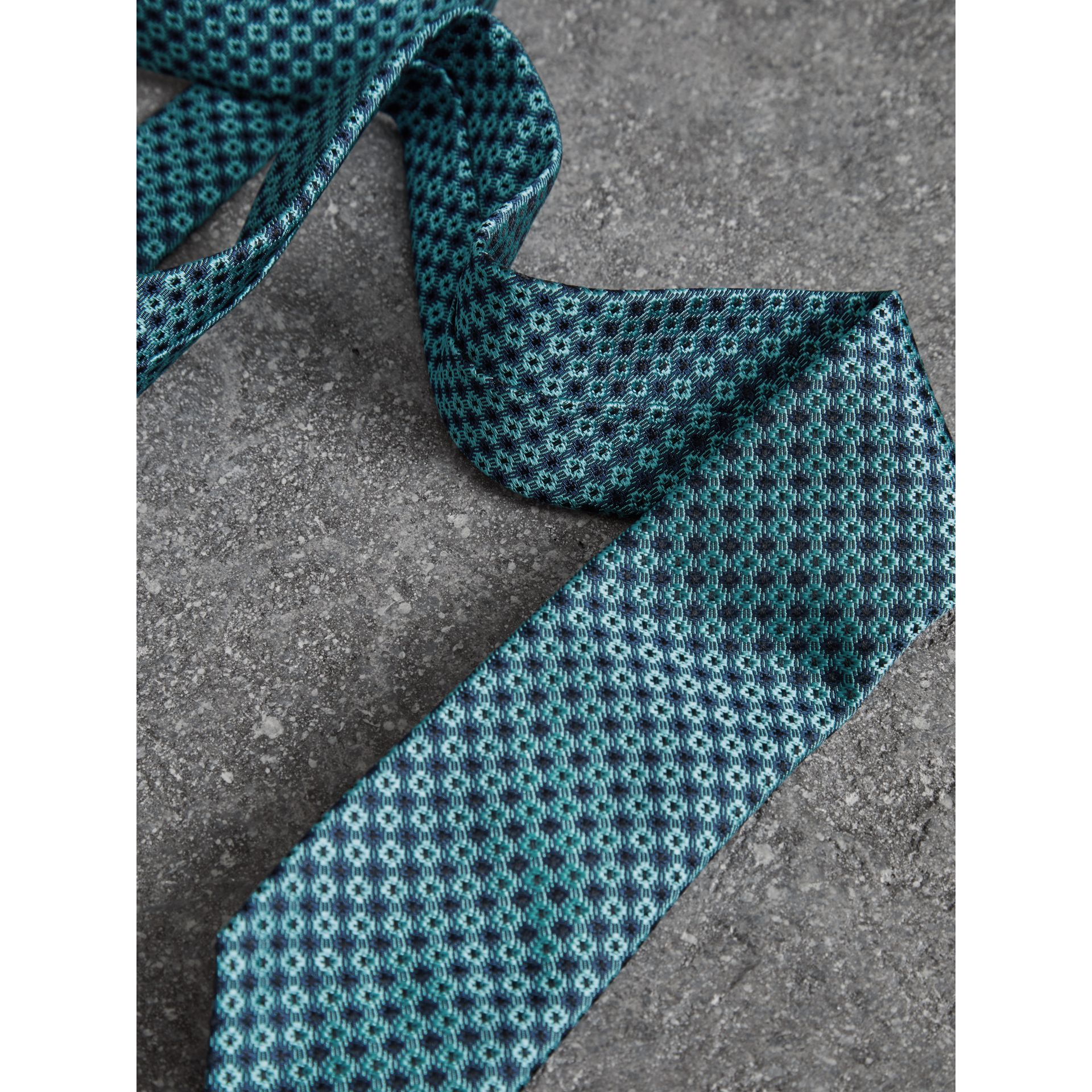 Slim Cut Daisy Silk Jacquard Tie in Turquoise - Men | Burberry United Kingdom - gallery image 1