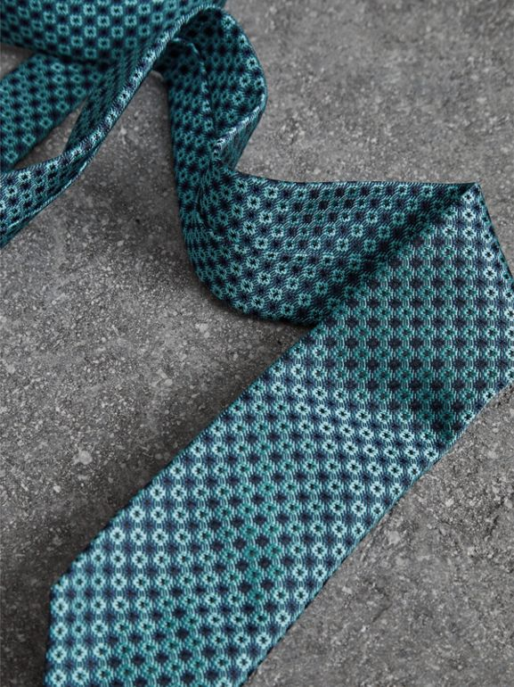 Slim Cut Daisy Silk Jacquard Tie in Turquoise - Men | Burberry United Kingdom - cell image 1