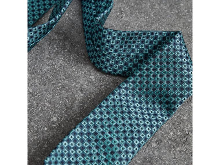 Slim Cut Daisy Silk Jacquard Tie in Turquoise - Men | Burberry - cell image 1