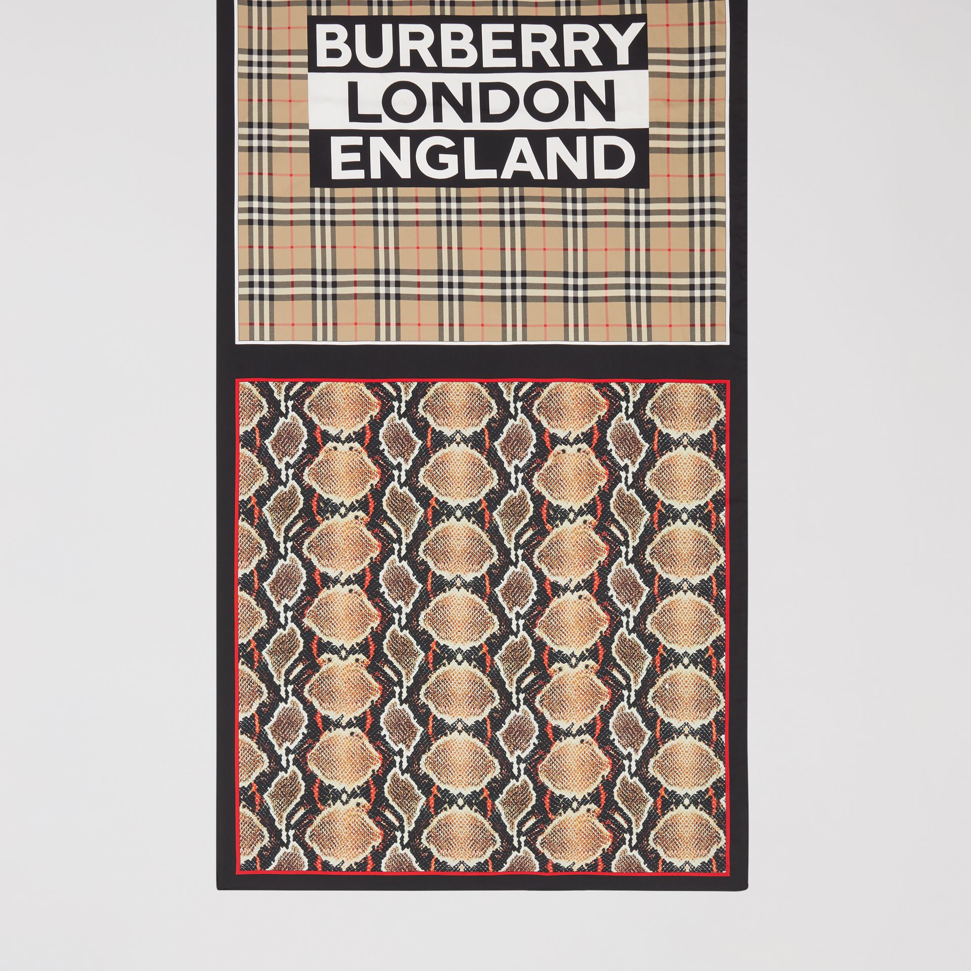 Montage and Logo Print Silk Scarf in Archive Beige | Burberry Hong Kong S.A.R - gallery image 4