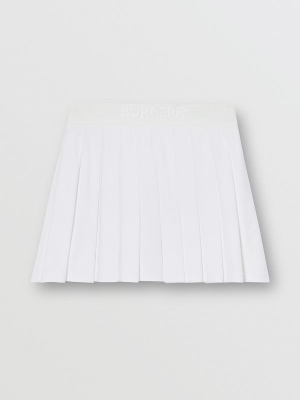 Pleated Jersey Tennis Skirt in White - Women | Burberry - cell image 3